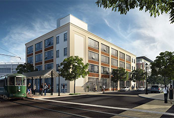 Artist's rendering of 110 Canal St. in Lowell. (Image courtesy of Trinity Financial).
