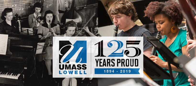 "A band plays together in the 1940s vs. an orchestra playing together today overlaid with UMass Lowell ""125 Years Proud"" logo"