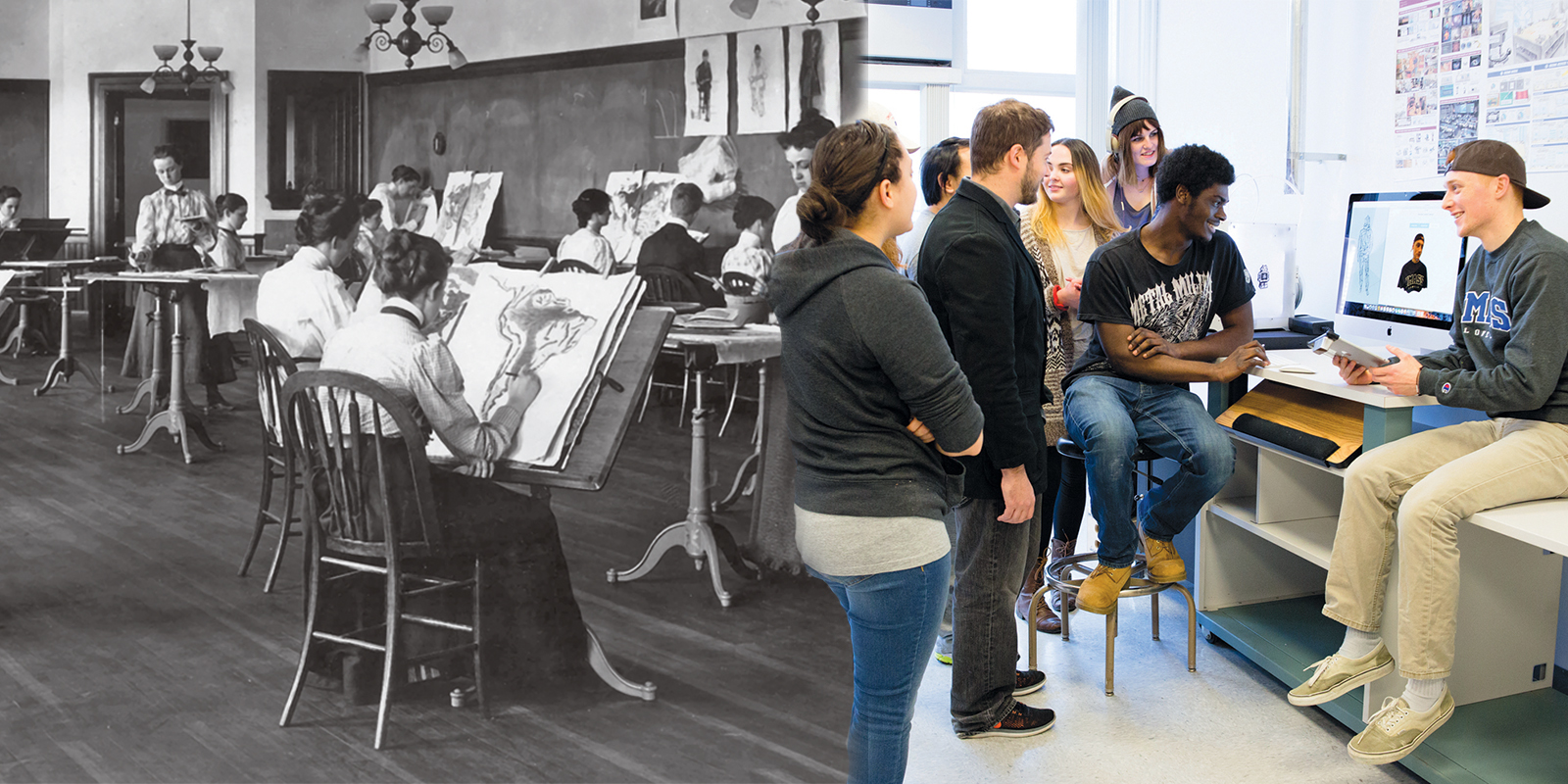 On the left, a black and white photo of Lowell Normal School students at the turn of the century sketching during a drawing class on the third floor of Coburn Hall. On the right, art and design students gather around a computer in the new Expanded Media Fabrication Laboratory in Dugan Hall.