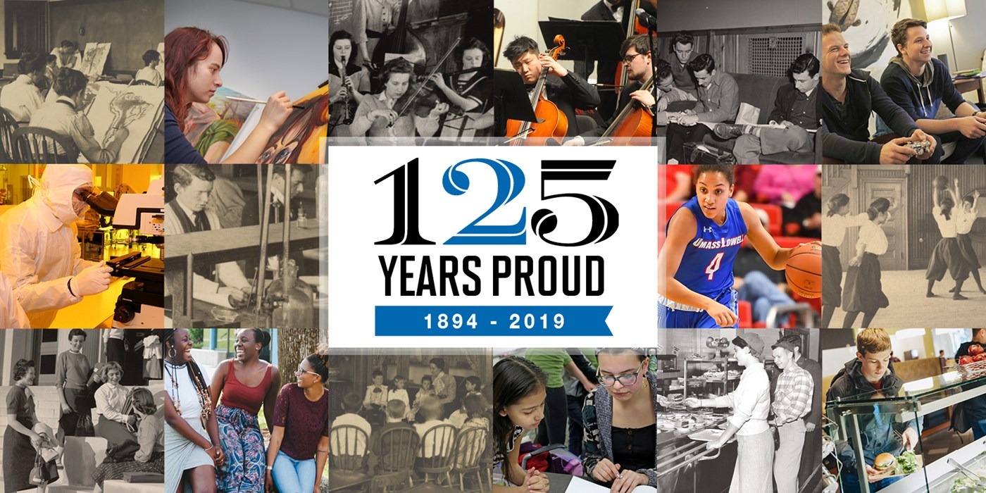 "A collage of images, old and new with the UMass Lowell logo in the middle and the text ""125 YEARS PROUD, 1894-2019"" in the center"