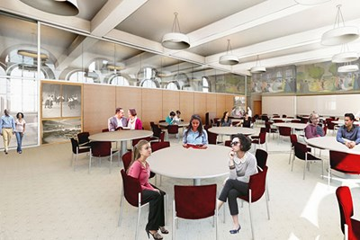 Architect's rendering of the new event space in Coburn Hall, UML