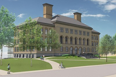 Architect's rendering of Coburn Hall after renovation, from Broadway