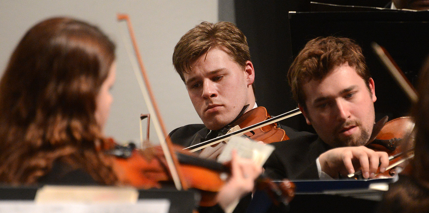 "The string section at the University Orchestra's ""All You Need is Love!"" Valentine's Day concert."