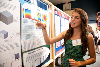 Jaclyn Solimine, a mechanical engineering major, researched methods for detecting damage in wind turbines as part of the Co-op Scholar program, which is offered to high-achieving students.