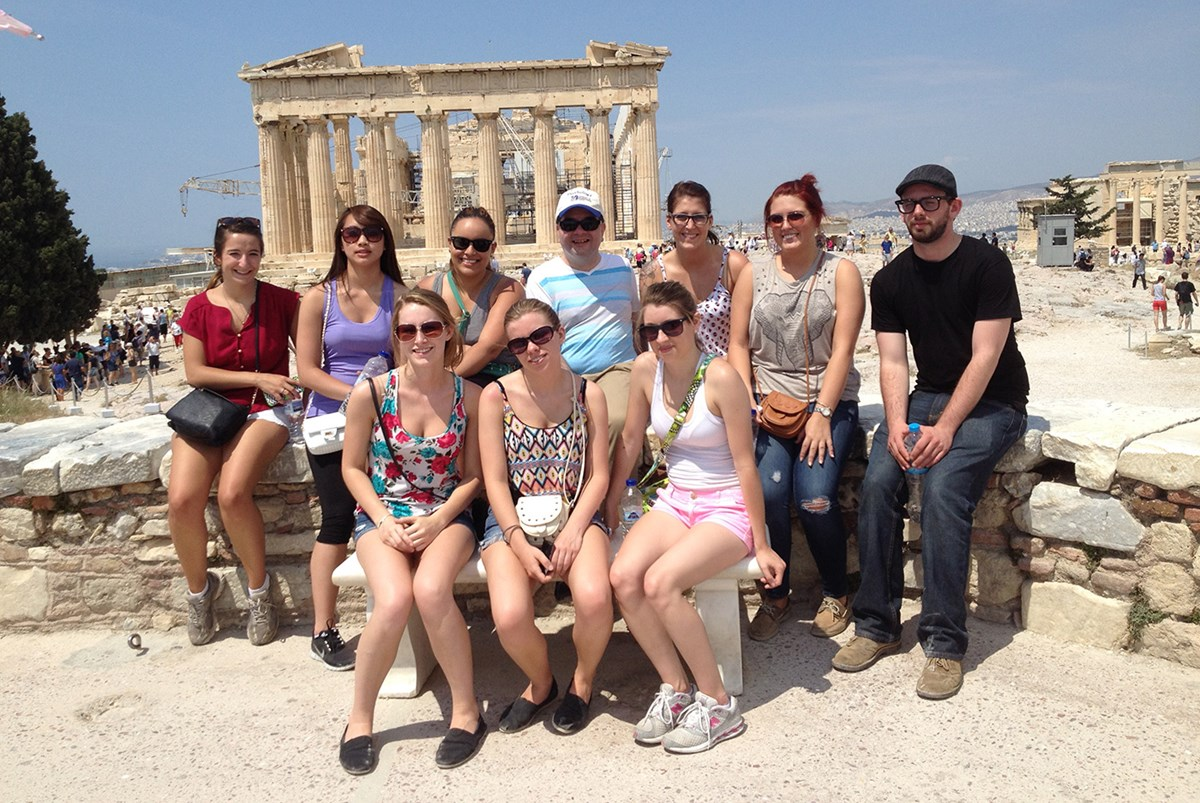 A group photo from a study abroad trip to Greece in 2014.