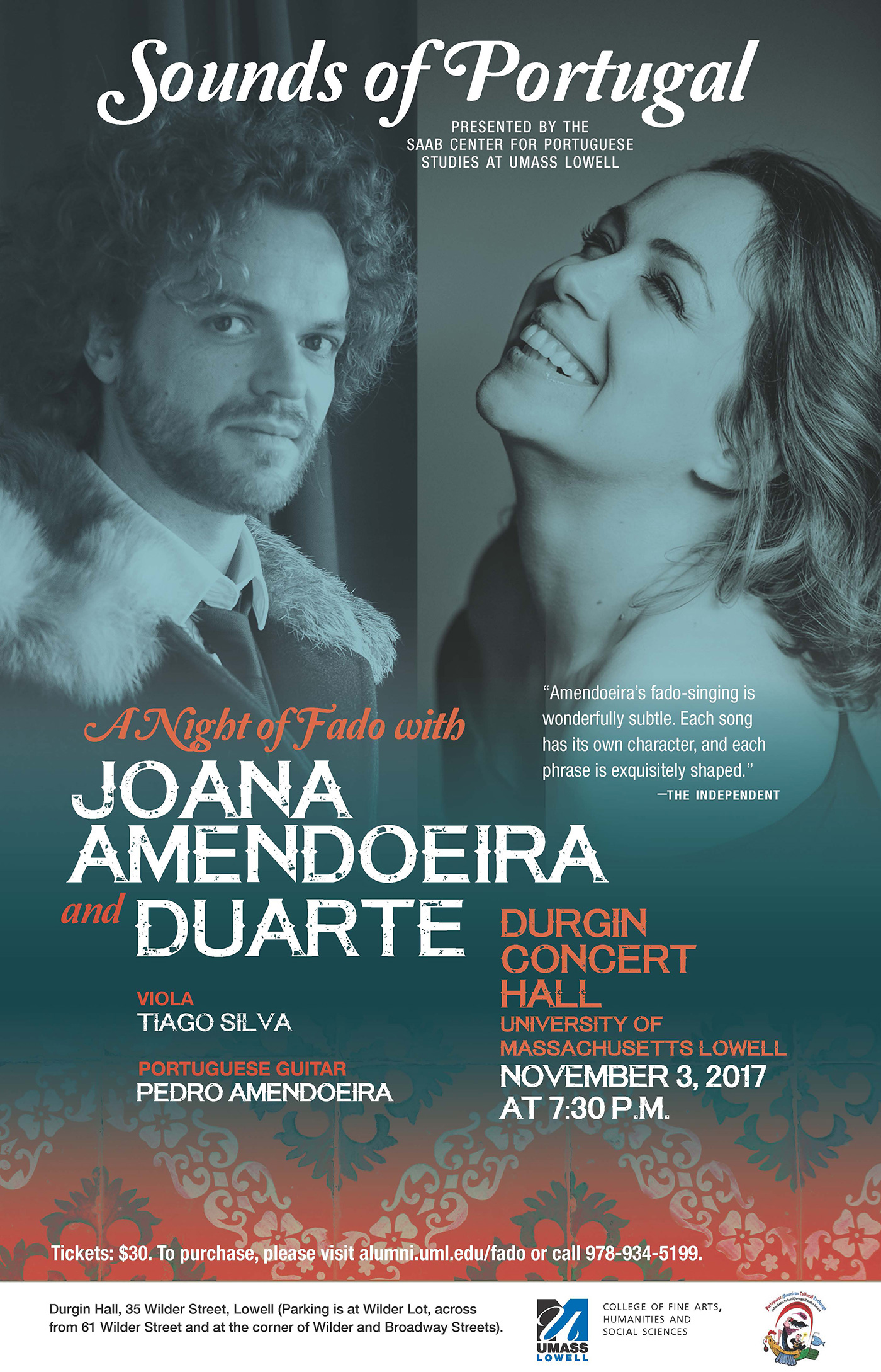 Flyer for event: Sounds of Portugal: A night of fado with Joana Amendoeira and Duarte. Joana is one of the best-known fadistas today, with nine highly acclaimed CDs and critical recognition from the Amália Foundation, among others. This will be her first official US visit.  Duarte is a singer, musician and lyricist, who was recently featured on Public Radio International.
