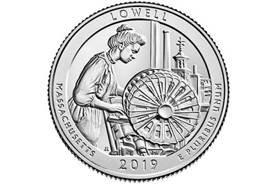 The design for the U.S. Mint's 2019 Massachusetts quarter in the America the Beautiful series, which features Lowell National Historical Park