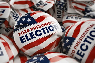 Pile of 2020 Presidential Election buttons