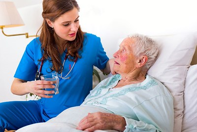 Nurse with stroke patient