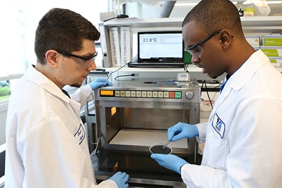 Asst. Prof. Onur G. Apul and student Ritchie LaFaille prepare to heat a sample of carbon-based nanofibers
