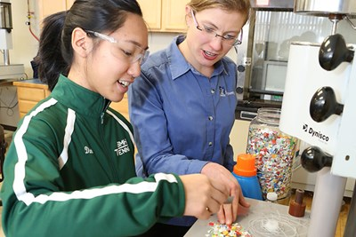 Assoc. Prof. Meg Sobkowicz-Kline and student Jennifer Dinh characterize mixed plastic flakes for recycling