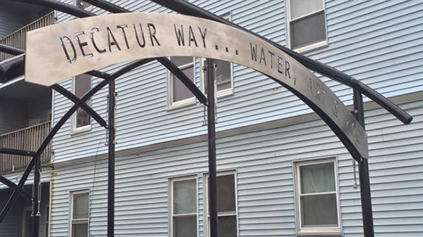 """Decatur Way...Water, Art and You,"" is a new public walkway and art space located behind University Crossing student center."