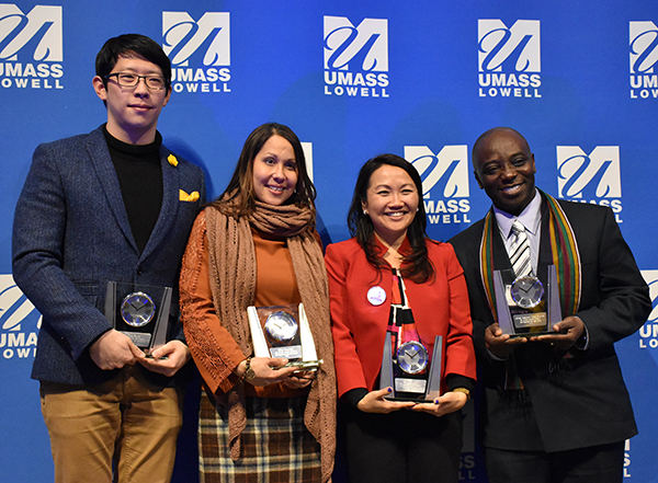 UMass Lowell presented MLK Distinguished Service Awards to student Fang Zhang, staff member Ruby Carnevale, College of Education Associate Prof. Phitsamay Uy and Gordon Halm, founder and executive director of the African Community Center of Lowell.