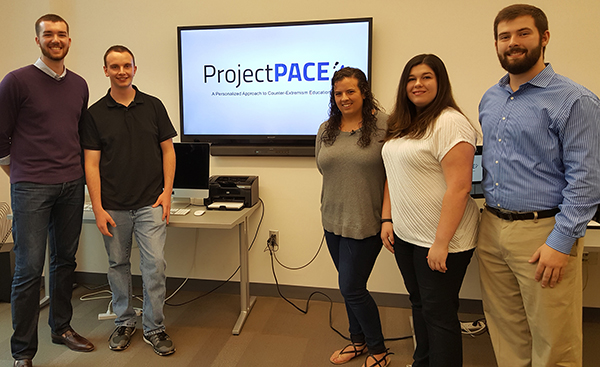 Project PACE team members include, from left, students Matthew Levenson, Kyle Cooper, Colleen Silva, Brenna Ambrose and Daniel Gonzalez.