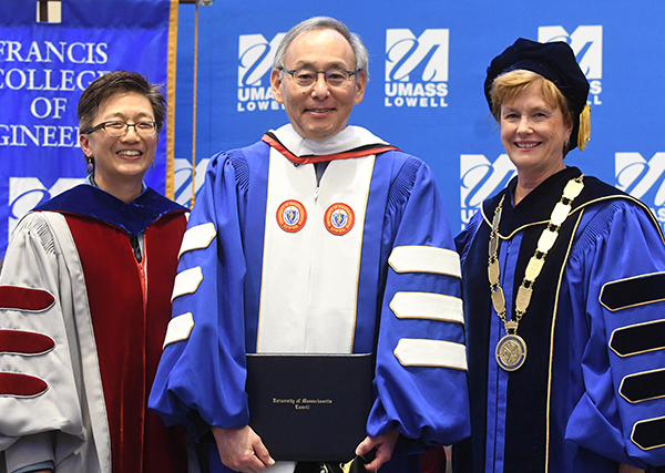 UMass Lowell presented Nobel laureate and former U.S. energy secretary Steven Chu with an honorary doctor of humane letters degree during a ceremony at University Crossing.