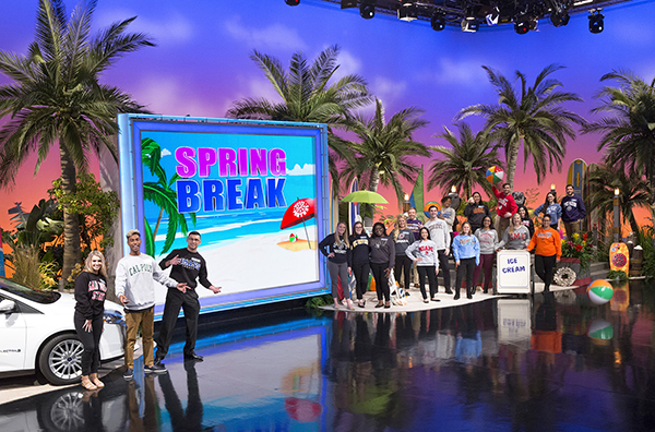 "UMass Lowell political science major Mansour Chaya, third from left, took home $52,000 in cash and prizes after appearing on ""Wheel of Fortune"" on Thursday, April 5. The show aired as part of the popular game show's annual ""College Week"" competition."