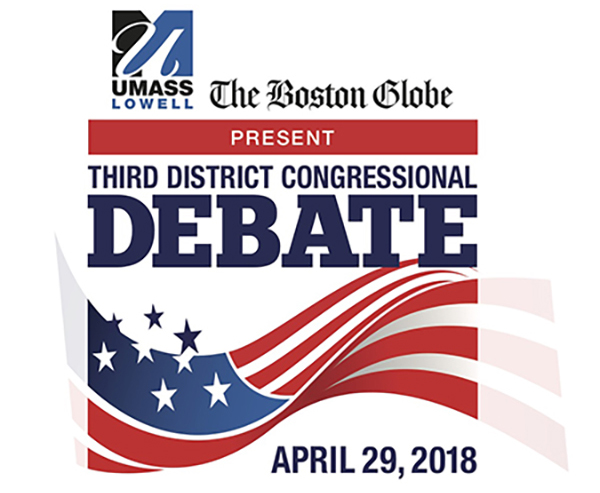 Candidates vying for the Democratic nomination to represent Massachusetts' 3rd Congressional District will debate the issues on Sunday, April 29 at UMass Lowell.