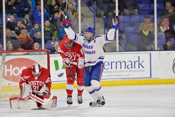 The UMass Lowell River Hawks host the quarterfinal round of the Hockey East tournament championship beginning on Friday, March 11 when the team faces off against the Boston University Terrirers.