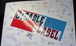 A poster by UMass Lowell's Disable the Label club
