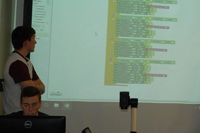 Matthew Hickey and Nicholas Winn present their app