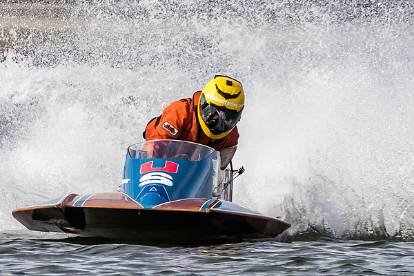 Michael Akerstrom pilots speedboat No. 8, nicknamed the 'Ironhead,' at full throttle in this photo taken on Aug. 29, 2015 in Nottingham, England, during the world championship for the OSY-400-class of speedboats.