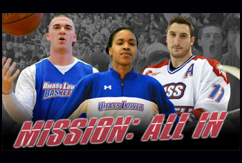 "Posters featuring basketball players Matt Welch and Sha'nay Bushner with hockey player Matt Ferreira were featured on campus as part of the award-winning ""Mission: All In"" athletics marketing campaign. Image by Liron Asher"