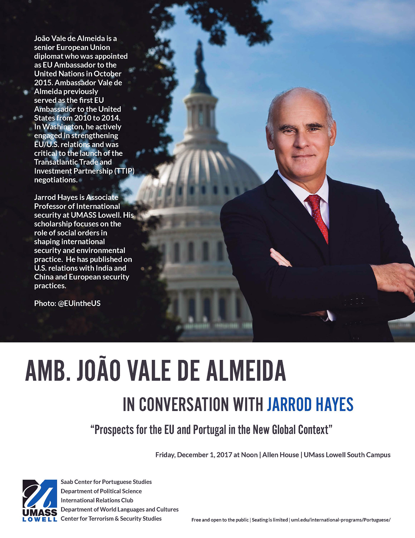 Flyer for Ambassador João Vale de Almeida In IN CONVERSATION WITH JARROD HAYES