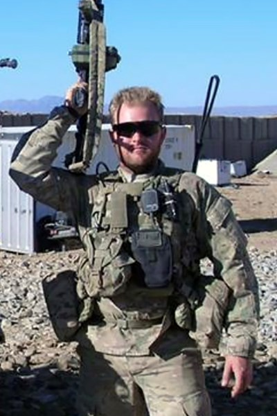 Steffen Johnson poses for a photo in Afghanistan