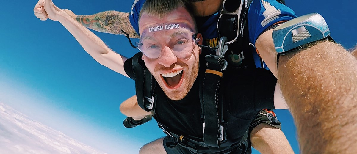 UMass Lowell student Andre DiFilippo skydives