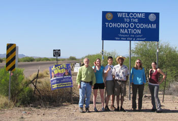 UMass Lowell volunteers arrive at the border of the Tohono O'odham Reservation. From left, Prof. John Duffy, Jackie Zani, Greg Baldwin, Emmanuel Meloncourt, Prof. Diana Archibald and Maia Benevente.