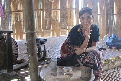 Ardeth Thawnghmung in a traditional Karen home in Burma.