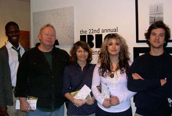 UMass Lowell gallery assistant Jason Allen joined the four BFA students who received best in show awards at the 22nd Annual BIG Student Show. From second from the left to right: Steve Kinney, Jessica Tawczynski, Alexandra Derderian and Peter Apperti.