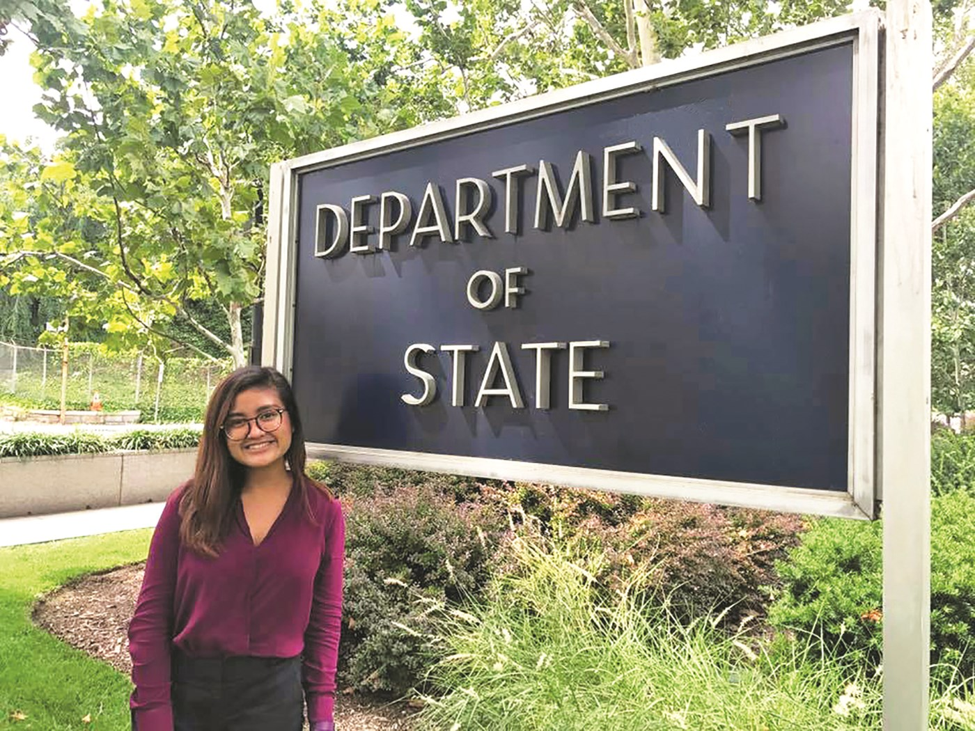 UMass Lowell Junior political science and government major Ayuthaya Basuseto, intern for the U.S. Department of State - Bureau of International Information Programs