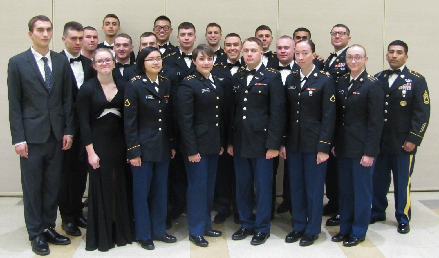 UML Cadets in uniform at dining in