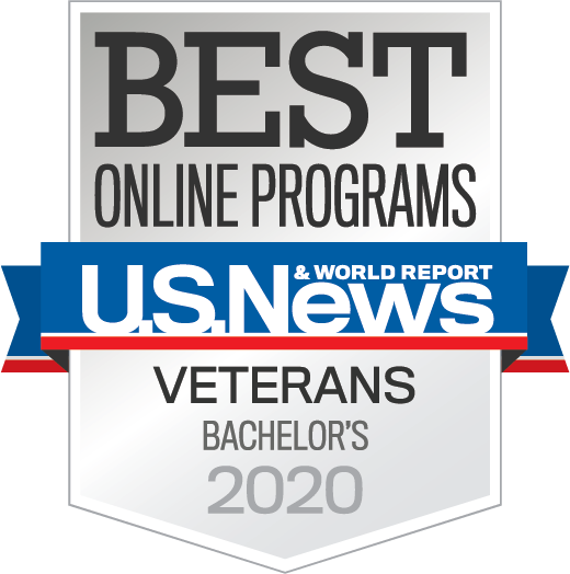 U.S. News & World Report badge for Best Online Bachelor's program for veterans