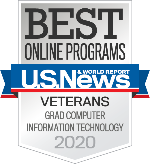 U.S. News & World Report badge for Best Online Graduate Computer Information Technology program for veterans