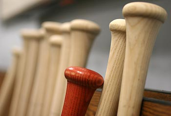 Skinny wooden bats used in Major League Baseball have to withstand up to 8,000 pounds of force when they make contact with the ball.