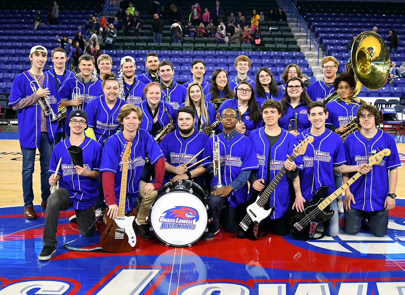 A group picture of the UMass Lowell Basketball Pep Band in 2017.