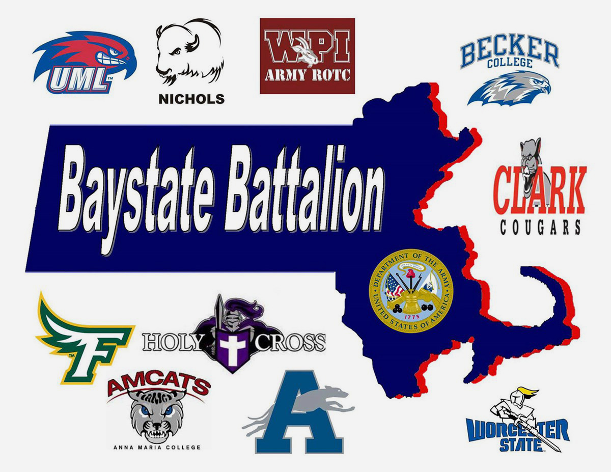 Bay State Battalion Logos. Cadets from all Worcester Consortium colleges and universities, plus Fitchburg and Framingham State Universities, Daniel Webster College, and UMass Lowell make up what is known as the Bay State Battalion. Headquartered at WPI, this unit prides itself on turning motivated and intelligent Cadets into educated and well-rounded officers.