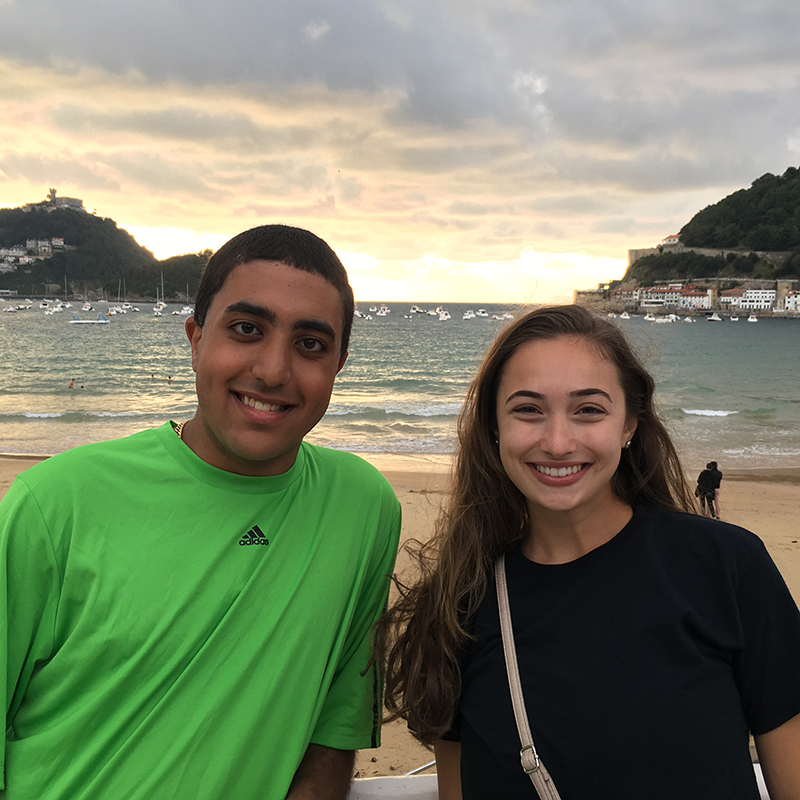 Corrina Quaglietta, a nursing student, and Benjamin Rafla, an electrical and computer engineering major, at a beach in San Sebastian, Spain