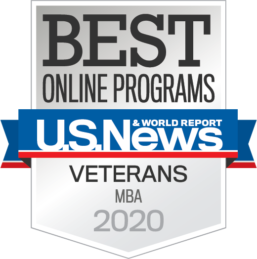 U.S. News & World Report badge for best online MBA program for veterans