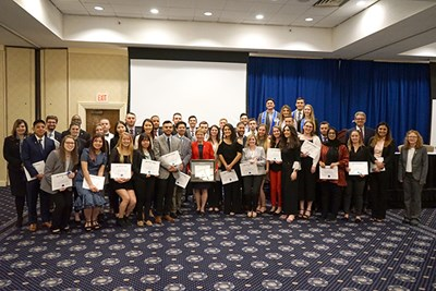 Beta Gamma Sigma inductees pose for a group photo