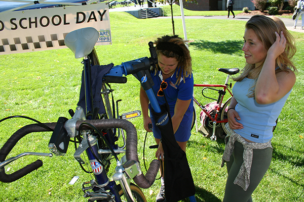 "Campus Recreation offers periodic mobile bike shops around campus, such as this one on South Campus last semester on ""Bike to School Day."""