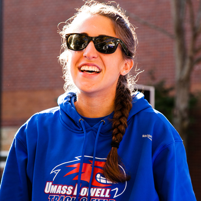 UMass Lowell Female Student Blue Sweatshirt