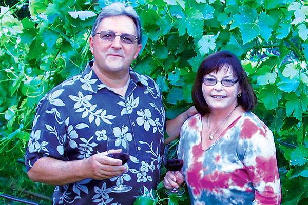 Bob Ward '71, a chemical engineer, biomedical polymer scientist, inventor and entrepreneur, is shown with his wife, Gail, at their family vineyard in Northern California. Ward was awarded an honorary doctorate by UMass Lowell in 2012.