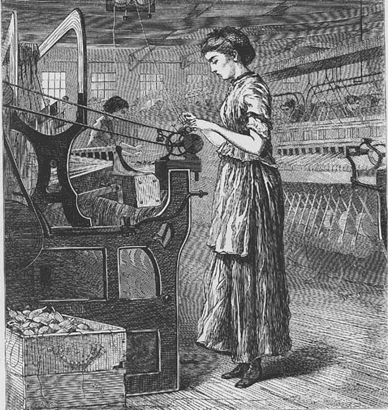 Bobbin Girl by Winslow Homer - kAn old drawing of a women working in the textile mill with other women's.