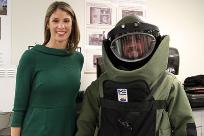 Lori Trahan with the bomb suit guy