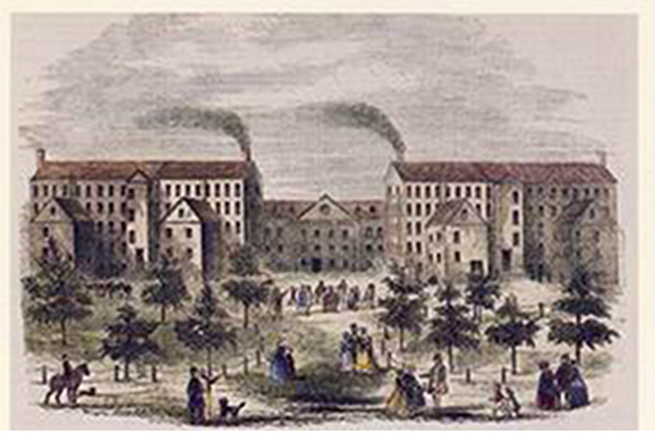 A postcard depicts the Boott Mills during the Industrial Revolution.