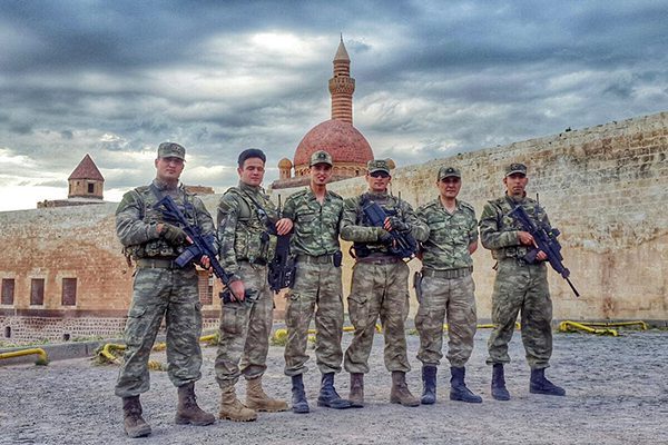 Burhan Colak '15, third from left, poses with fellow members of the Turkish Armed Forces in the city of Doğubayazit, where he helped put down the recent coup attempt.