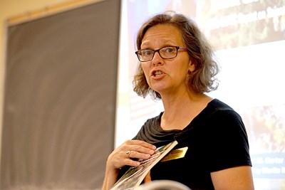 Lori Weeden speaks during the workshop